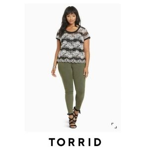 Torrid |  Lace Ribbed Trim Top